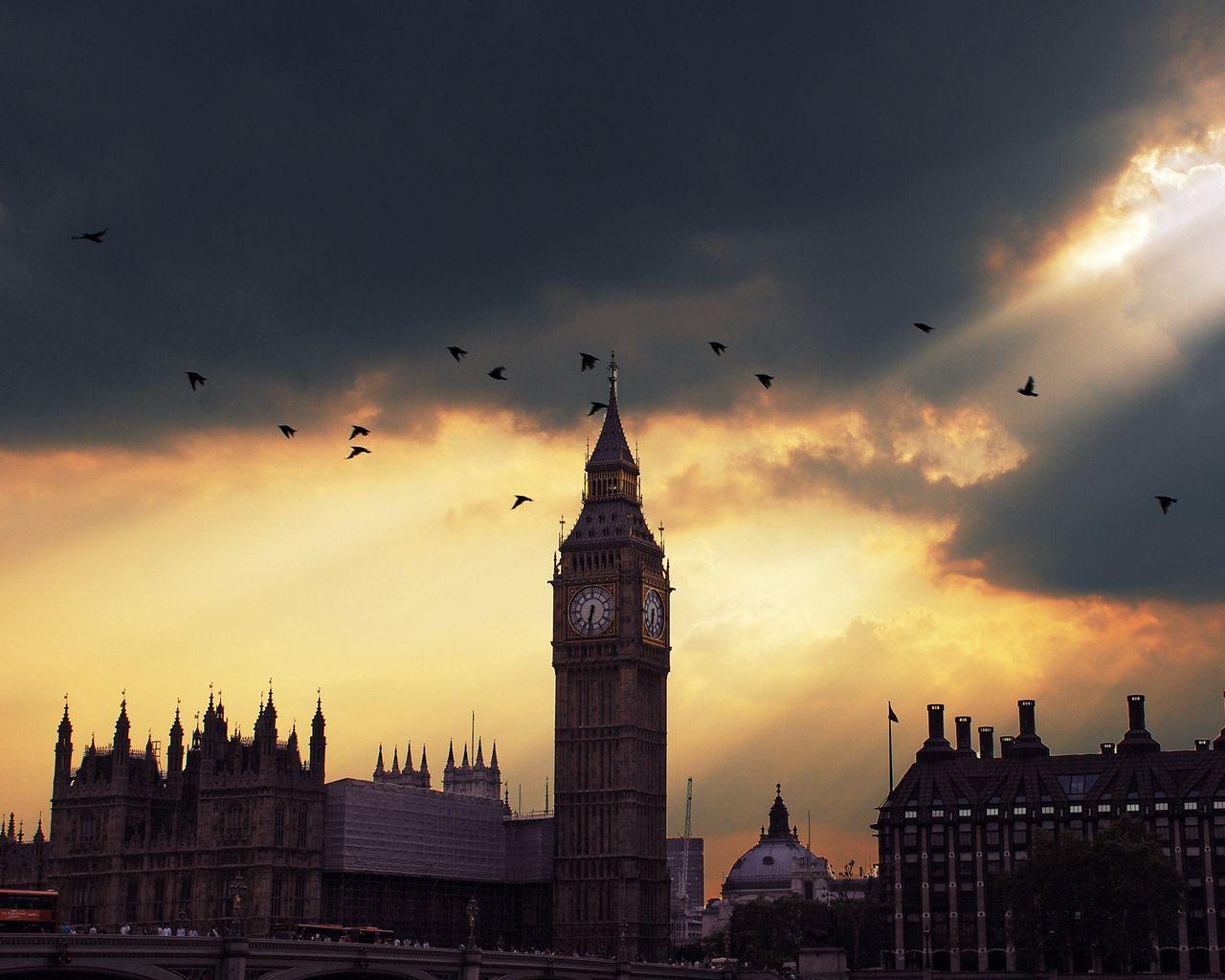 1280x1024 Wallpaper london, big ben, sunset, shadow, sky