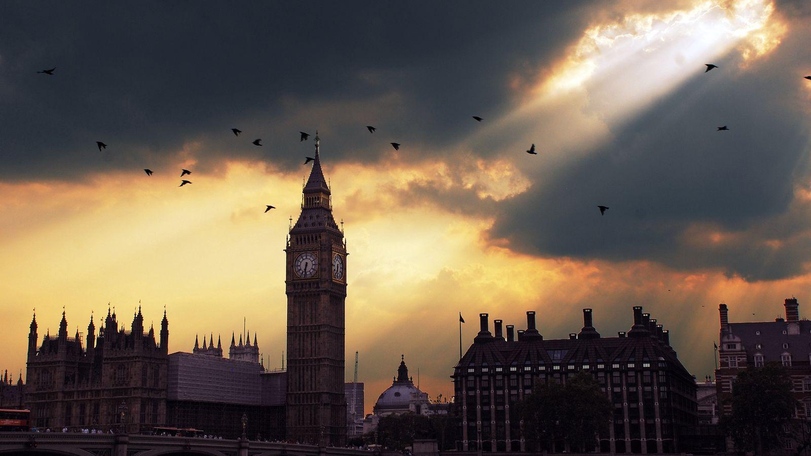 1600x900 Wallpaper london, big ben, sunset, shadow, sky