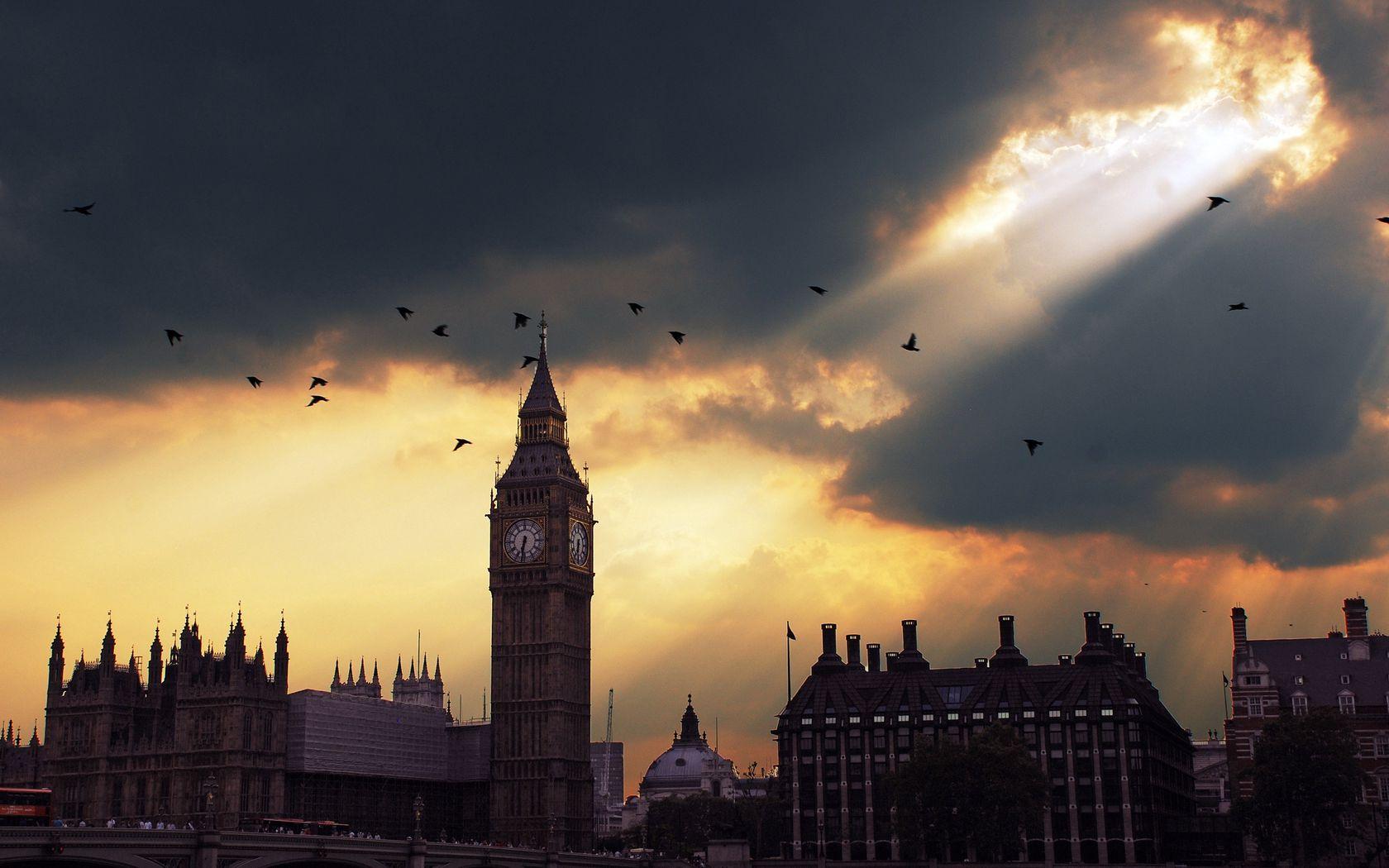 1680x1050 Wallpaper london, big ben, sunset, shadow, sky
