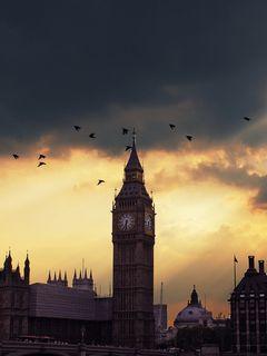 240x320 Wallpaper london, big ben, sunset, shadow, sky