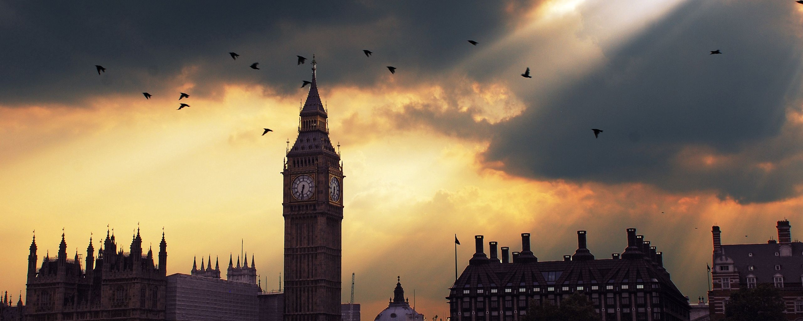 2560x1024 Wallpaper london, big ben, sunset, shadow, sky