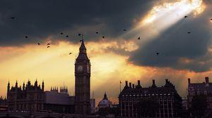 Preview wallpaper london, big ben, sunset, shadow, sky