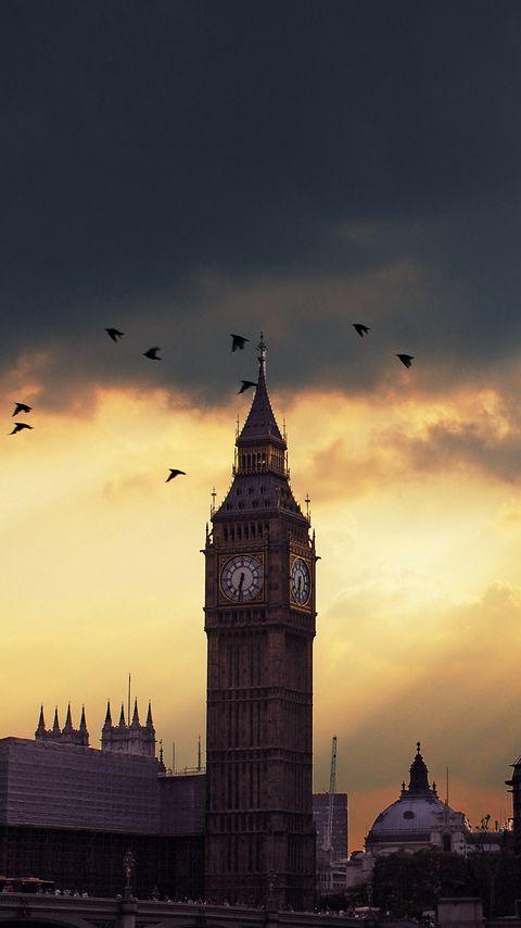 480x854 Wallpaper london, big ben, sunset, shadow, sky