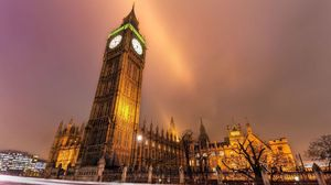 Preview wallpaper london, city lights, buildings, night, street, road