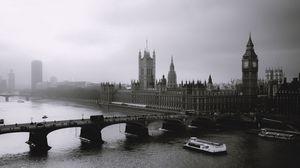 Preview wallpaper london, mist, river, bridge, big ben, black white
