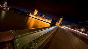 Preview wallpaper london, night, bridge, river, big ben