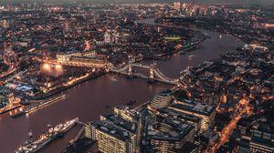 Preview wallpaper london, uk, city lights, bridge, top view