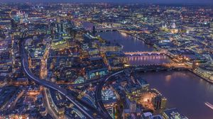 Preview wallpaper london, united kingdom, night city, top view