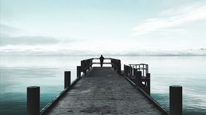 Preview wallpaper alone, loneliness, pier