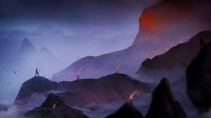 Preview wallpaper lonely, loneliness, fog, mountains, torch