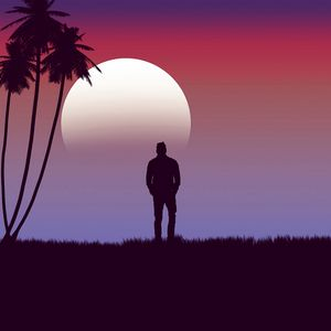 Preview wallpaper lonely, loneliness, moon, palm