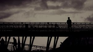 Preview wallpaper lonely, loneliness, silhouette, bw