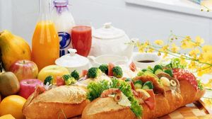 Preview wallpaper long loaf, sandwich, stuffing, table