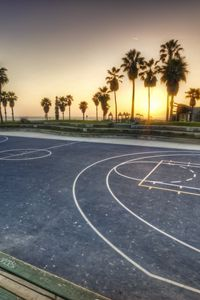 Preview wallpaper los angeles, california, evening, playground, basketball, markup, palms
