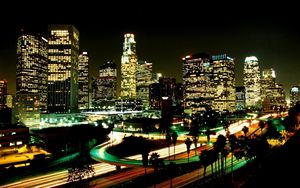 Preview wallpaper los angeles, city, night, street, skyscrapers