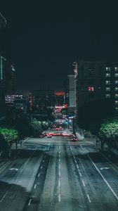 Preview wallpaper los angeles, night city, road, traffic