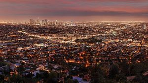 Preview wallpaper los angeles, night, view from above, city