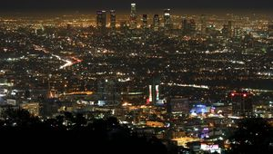 Preview wallpaper los angeles, night, view, top view