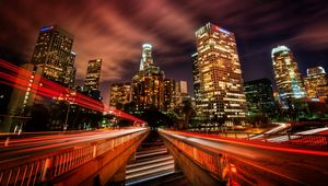 Preview wallpaper los angeles, traffic, city, night, speed, skyscrapers, hdr