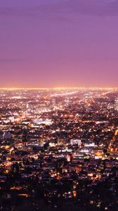 Preview wallpaper los angeles, usa, panorama, night city