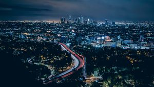Preview wallpaper los angeles, usa, skyscrapers, night, top view