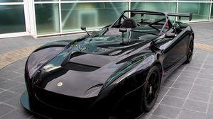 Preview wallpaper lotus, black, car, front view, convertible, sports car