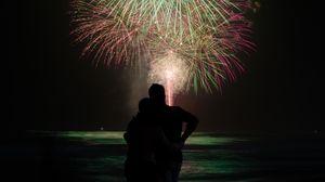 Preview wallpaper love, fireworks, silhouette, dark