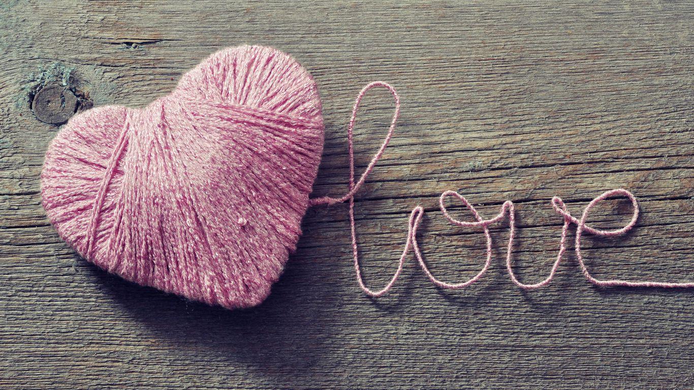 1366x768 Wallpaper love, heart, strings, romance
