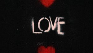Preview wallpaper love, hearts, words, graffiti
