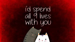 Preview wallpaper love, inscription, confession, romance, cats, postcard