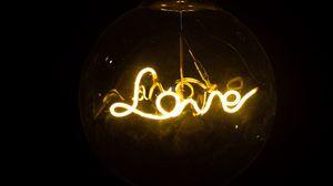 Preview wallpaper love, neon, lamp, inscription, word