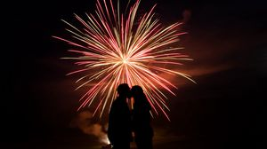 Preview wallpaper love, silhouette, fireworks, dark
