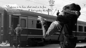 Preview wallpaper love, situation, meet, train, black white