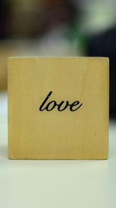 Preview wallpaper love, word, inscription, cube