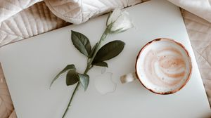 Preview wallpaper macbook, coffee, cup, rose, cloth