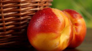 Preview wallpaper macro, drops, fruit, nectarine