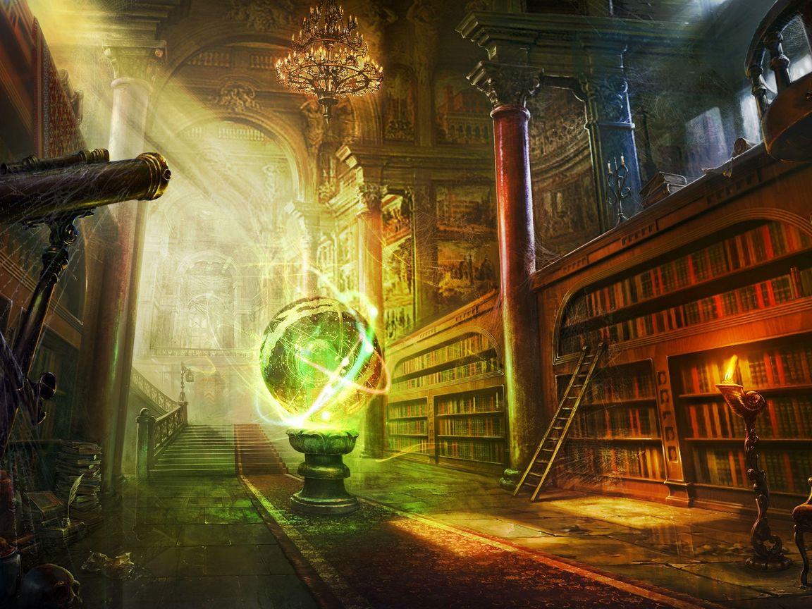 1152x864 Wallpaper magic, ball, library, columns, castle