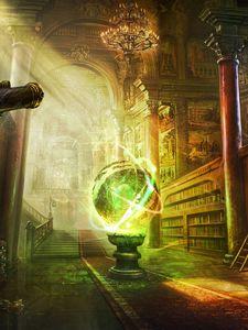 Preview wallpaper magic, ball, library, columns, castle
