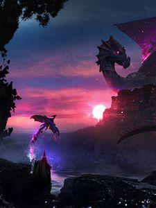 Preview wallpaper magician, dragon, art, magic, fantasy