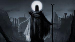 Preview wallpaper magician, staff, cloak, scary, black, ruin, art