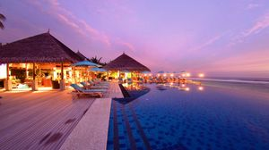 Preview wallpaper maldives, tropical, beach, resort, evening
