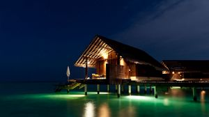 Preview wallpaper maldives, tropical, bungalows, night