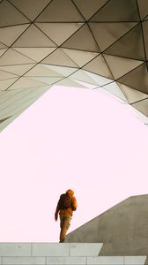 Preview wallpaper man, alone, building, minimalism