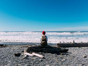 Preview wallpaper man, alone, coast, sea, nature