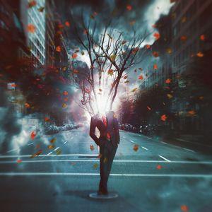 Preview wallpaper man, city, surrealism, tree, foliage, light, transience, digital art
