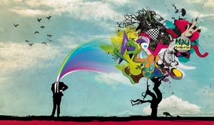Preview wallpaper man, crazy, surreal, explosion, brain