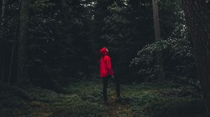 Preview wallpaper man, forest, alone, solitude, trees, sweden