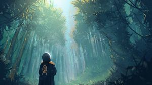 Preview wallpaper man, forest, art, trees, loneliness
