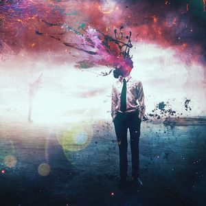 Preview wallpaper man, gas mask, surrealism, digital art