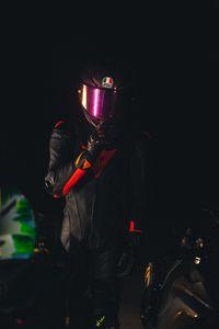 Preview wallpaper man, helmet, equipment, motorcyclist, dark